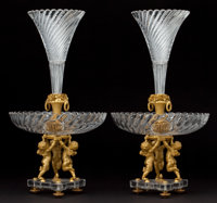 PAIR OF BACCARAT CUT CRYSTAL AND GILT BRONZE FIGURAL EPERGNES France, circa 1900 Marks to bronze: BACCARAT<