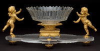 BACCARAT CUT CRYSTAL AND FIGURAL GILT BRONZE CENTERPIECE WITH ASSOCIATED BOWL France, circa 1900 Marks to bron