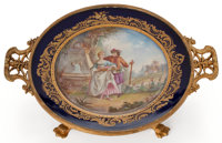 SÈVRES STYLE PORCELAIN TRAY WITH GILT BRONZE MOUNTS France, circa 1900 Signed to front: Aubé; to re