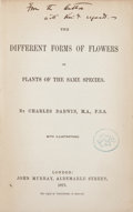 Books:Signed Editions, Charles Darwin. The Different Forms of Flowers on Plants of theSame Species. London: John Murray, 1877. First editi...