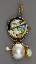 Silver Smalls:Other , A WILLIAM HARPER GOLD CLOISONNÉ ENAMEL, OPAL AND PEARL STICKPIN:SMALL OPAL. William Harper, New York, New York, 19...