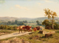 Fine Art - Painting, European:Antique  (Pre 1900), CLÉMENT QUINTON (French, 1851-1920). Cows Along a CountryRoad. Oil on board. 19 x 26 inches (48.3 x 66.0 cm). Signedlo...