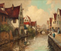 Fine Art - Painting, American:Modern  (1900 1949)  , GEORGE THOMPSON PRITCHARD (American, 1878-1962). CanalScene. Oil on canvas. 25 x 30 inches (63.5 x 76.2 cm). Signedlow...
