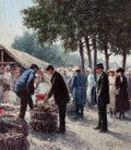 Fine Art - Painting, European:Contemporary   (1950 to present)  , HENRICUS GERARDUS DE KORTE (Dutch, b. 1941). Dutch Market Scene. Oil on canvas. 31 x 27 inches (78.7 x 68.6 cm). Signed ...