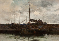 CHARLES PAUL GRUPPE (American, 1860-1940) Ships at The Hague Oil on canvas 19 x 27 inches (48.3 x