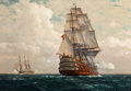 Paintings, ZENO DIEMER (German, 1867-1939). Ship at Sea. Oil on canvas . 39-1/2 x 56-1/2 inches (100.3 x 143.5 cm). Signed lower le...