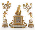 Decorative Arts, French:Other , LOUIS XV STYLE GILT BRONZE AND MARBLE ASSEMBLED CLOCK GARNITURECOMPRISING FIGURAL CLOCK AND PAIR OF CANDELABRA. France, 20t...