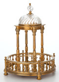 Bronze:European, TEMPLE-FORM MIRRORED BACCARAT CRYSTAL AND GILT BRONZE LIQUEUR STAND. France, circa 1900. Marks to bronze: BACCARAT (log...