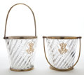 Decorative Arts, Continental:Other , PAIR OF BACCARAT CRYSTAL BRASS MOUNTED BUCKETS WITH HANDLES,MONOGRAMMED MB. France, 20th century. Marks: Baccarat...(Total: 2 Items)