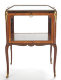 LOUIS XV STYLE MAHOGANY VITRINE CABINET WITH FITTED BRASS AND MIRRORED REMOVABLE TRAY TOP 20th century 42 x 2