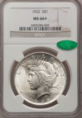 Peace Dollars, 1922 $1 MS66+ NGC. CAC....