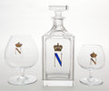 Decorative Arts, French:Other , EIGHT BACCARAT GLASS BRANDY SNIFTERS TOGETHER WITH A BRANDYDECANTER WITH ENAMELED MONOGRAM AND CROWN . France, ... (Total: 3Items)