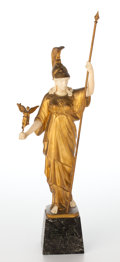 Decorative Arts, Continental:Other , GILT BRONZE AND IVORY FIGURE OF ATHENA AFTER GOTTHIFT JAEGER .(German, 1871-1933), early 20th century. Marks: Jaeger RM...