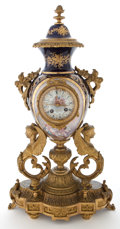 Decorative Arts, French:Other , SEVRES STYLE PORCELAIN CLOCK WITH GILT BRASS MOUNTS . France, 19thcentury. 24-1/4 inches high (61.6 cm). ...