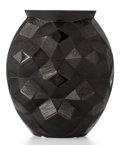 Glass, LALIQUE BLACK GLASS FACETED OVAL VASE: TORTUE . France, post 1945. Engraved: Lalique France 183/999;...