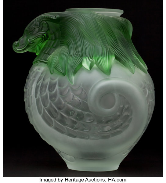 Lalique Glass Vase Imperial Green Dragon France Post 1945 Lot