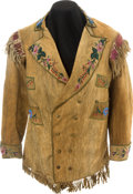 American Indian Art:Beadwork and Quillwork, AN EASTERN SIOUX BEADED HIDE JACKET. c. 1900...