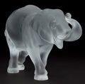 Art Glass:Lalique, LALIQUE FROSTED GLASS ELEPHANT FIGURINE: SUMATRA . France,post 1945. Engraved: Lalique France...