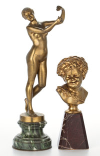 TWO GILT BRONZE FIGURES, THE FIRST AFTER DOMINIQUE VAN DEN BOSSCHE, (BELGIAN, 1854-1906)OF A NUDE WOMAN WITH CASTANETS...
