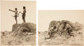 American Indian Art:Photographs, TWO VIEWS OF BLACKFEET MEN . c. 1910... (Total: 2 Items)