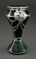 Art Glass:Other , A QUILTED GREEN GLASS VASE WITH LA PIERRE SILVER OVERLAY . LaPierre Mfg. Co., New York, New York & Newark, New Jersey,circ...
