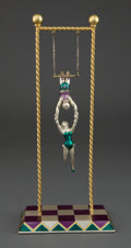 Silver Holloware, American:Other , A TIFFANY & CO. GENE MOORE SILVER, GILT AND ENAMEL CIRCUS GROUPOF HANGING TRAPEZE FIGURES . Designed by Gene Moore for Tiff...(Total: 2 Items)