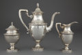 Silver Holloware, Continental:Holloware, A THREE-PIECE ITALIAN SILVER TEA SET . Maker unknown, Milan, Italy,circa 1900 . Marks: (Milan city mark) 800 (maker effaced... (Total:4 Items)