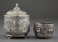 Silver Smalls:Other , A COLONIAL INDIAN SILVER AND GILT COVERED BOWL AND CUP . Makerunknown, probably Bombay, India, circa 1890. Unmarked. 5 inch...(Total: 3 Items)