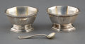 Silver Holloware, American:Open Salts, A PAIR OF TIFFANY SILVER AND SILVER GILT OPEN SALTS AND SPOON .Tiffany & Co., New York, New York, circa 1925. Marks:TIFF... (Total: 3 Items)