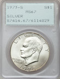 Eisenhower Dollars: , 1973-S $1 Silver MS67 PCGS. PCGS Population (2965/810). NGC Census: (483/97). Mintage: 869,400. Numismedia Wsl. Price for p...