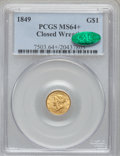 Gold Dollars, 1849 G$1 Closed Wreath MS64+ PCGS. CAC. Breen-6003....