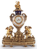 Decorative Arts, French:Other , LOUIS XV STYLE GILT BRONZE AND SÈVRES PORCELAIN CLOCK GARNITURE SET. France, circa 1900. Marks: Clock Inscribed 'Richond ...(Total: 3 Items)