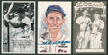Baseball Collectibles:Others, Ted Williams and Joe DiMaggio Signed Postcards Lot of 3....