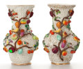 Ceramics & Porcelain, PAIR OF CONTINENTAL PORCELAIN SCHNEEBALLEN VASES ENCRUSTED WITH WHITE FLOWERS AND FRUIT . Late 19th century. Marks: (blue cr... (Total: 2 Items)