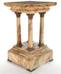 Marble:European, NEOCLASSICAL STYLE ONYX AND GILT METAL MOUNTED FOUR COLUMN PEDESTAL. Late 19th century . 33-1/2 x 19 x 19 inches (85.1 x 48...
