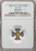 California Fractional Gold, 1880 25C Indian Octagonal 25 Cents, BG-799J, R.3, MS66 ProoflikeNGC....