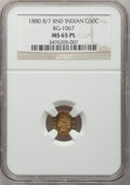 California Fractional Gold, 1880/70 50C Indian Round 50 Cents, BG-1067, Low R.4, MS65 ProoflikeNGC....