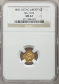 California Fractional Gold, 1860 $1 Liberty Octagonal 1 Dollar, BG-1102, R.4, MS62 NGC....