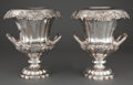 Silver Holloware, Continental:Holloware, PAIR OF SILVER-PLATED CAMPANA VASE FORM WINE COOLERS WITH COLLARAND SLEEVE. Circa 1900. Marks: S (within radiating star...(Total: 2 Items)