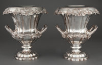 PAIR OF SILVER-PLATED CAMPANA VASE FORM WINE COOLERS WITH COLLAR AND SLEEVE Circa 1900 Marks: S (wit