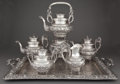 Silver Holloware, Continental:Holloware, A SPANISH FIVE-PIECE SILVER TEA AND COFFEE SERVICE WITH TRAY .Maker unidentified, Madrid, Spain, circa 1900. Marks: TA ...(Total: 6 Items)