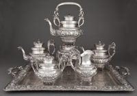 A SPANISH FIVE-PIECE SILVER TEA AND COFFEE SERVICE WITH TRAY Maker unidentified, Madrid, Spain, circa 1900 Mar