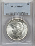 Peace Dollars, 1925 $1 MS65+ PCGS. PCGS Population (6682/1511). NGC Census:(9331/1596). Mintage: 10,198,000. Numismedia Wsl. Price for pr...
