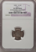 Early Half Dimes: , 1805 H10C --Cleaned, Damaged--NGC Details. VG. LM-1. Mintage:15,600. (#4272)...