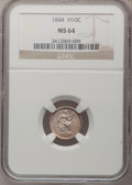 Seated Half Dimes: , 1844 H10C MS64 NGC. NGC Census: (54/41). PCGS Population (20/52).Mintage: 430,000. Numismedia Wsl. Price for problem free ...