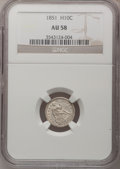 Seated Half Dimes: , 1851 H10C AU58 NGC. NGC Census: (10/110). PCGS Population (6/82).Mintage: 781,000. Numismedia Wsl. Price for problem free ...