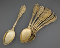 Silver Flatware, American:Gorham, A GORHAM SET OF EIGHT SILVER GILT SERVING SPOONS . GorhamManufacturing Co., Providence, Rhode Island, circa 1894. Marks:(l... (Total: 8 Items)