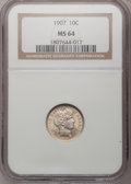 Barber Dimes: , 1907 10C MS64 NGC. NGC Census: (90/82). PCGS Population (100/53).Mintage: 22,220,576. Numismedia Wsl. Price for problem fr...