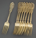 Silver Flatware, American:Gorham, A GORHAM SET OF EIGHT SILVER GILT DINNER FORKS . GorhamManufacturing Co., Providence, Rhode Island, circa 1894. Marks:(lio... (Total: 8 Items)