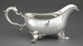 Silver Holloware, British:Holloware, A THOMAS ROBINS GEORGE III SILVER SAUCE BOAT . Thomas Robins,London, England, circa 1809-1810. Marks: (lion passant), (leop...